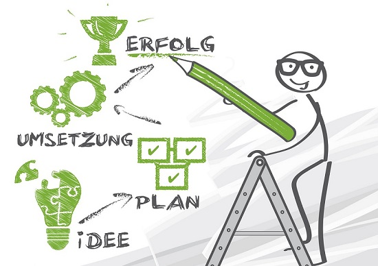 erfolg, erfolgreich, Erfolgsweg, Plan, Planung, Ziele, Idee, Ideen, erreichen, motivation, Erfolgsleiter, Karriereleiter, Beratung, beraten, Umsatz, innovation; Geschäftsidee, Geschäft, Zielsetzung, Karriere, Umsetzung, Leistung; Lösung, Skizze, Männchen, Strichmännchen